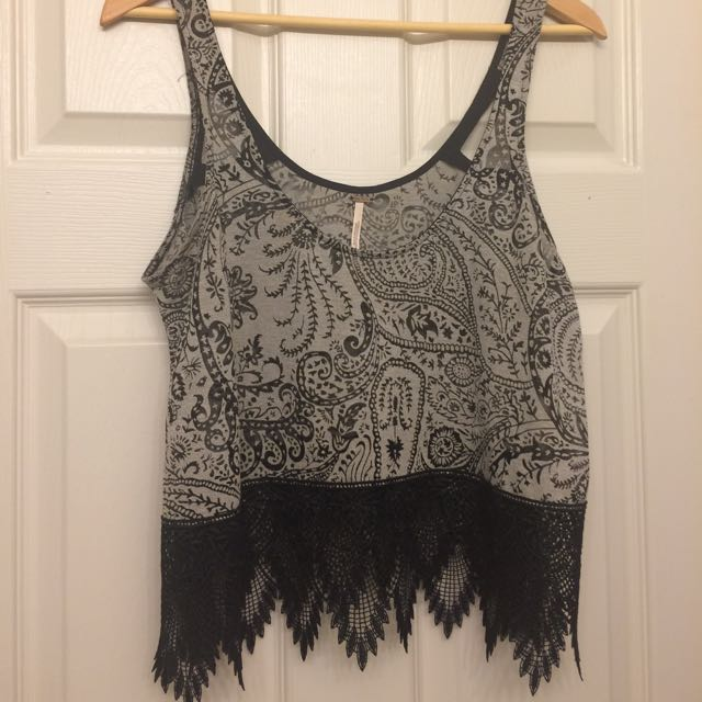 Free People Crop Tank With Beautiful Lace Detail