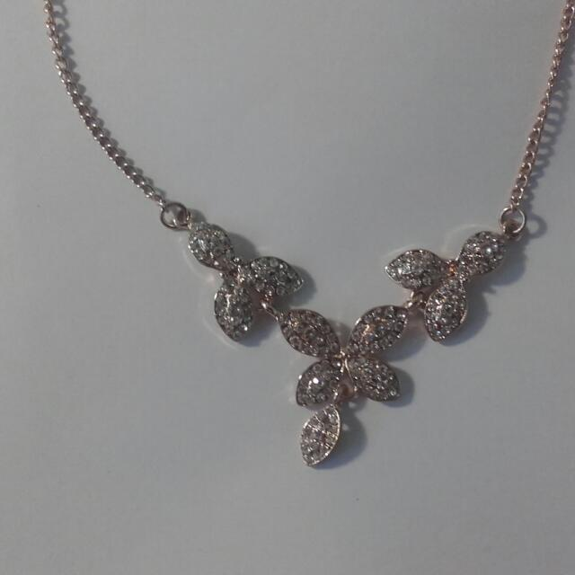 Gold Necklace With White Stones