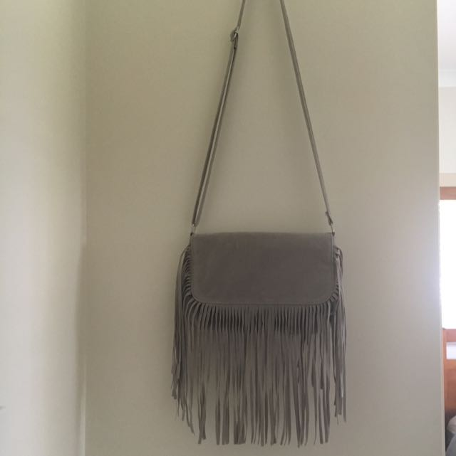 Grey Fringe Bag