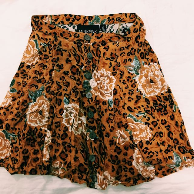 MINKPINK Leopard Print High Waisted Skirt