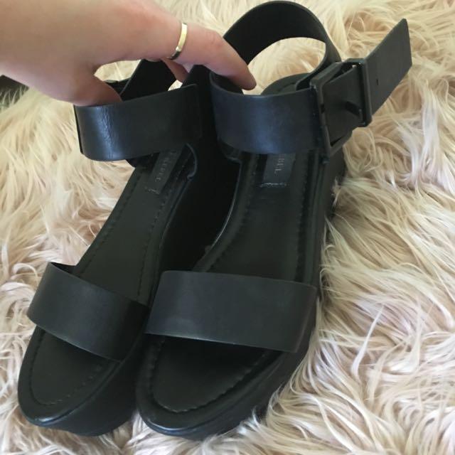 London Rebel Black Platform Shoes