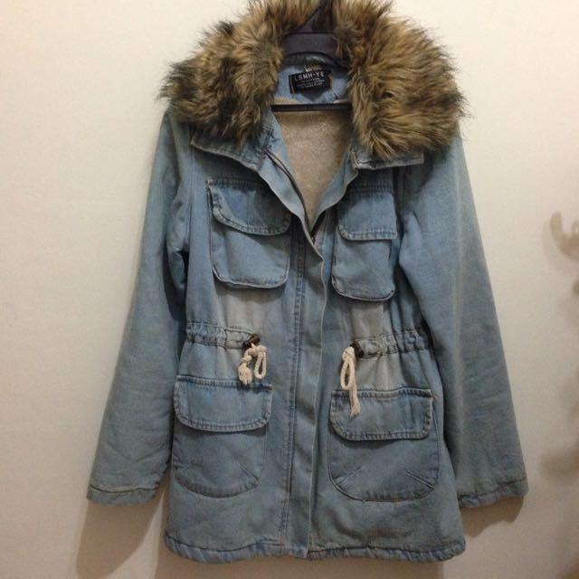 棕毛領牛仔內厚刷毛冬天外套大衣M-L