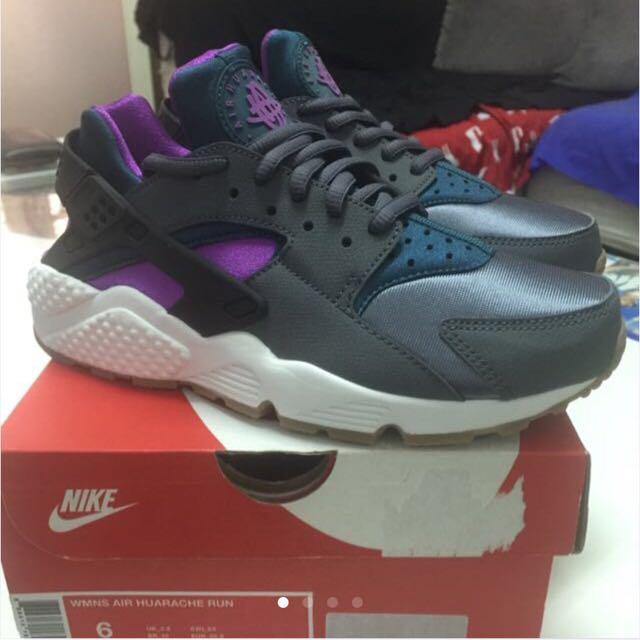 NIKE WMNS AIR HUARACHE RUN 鐵灰紫 武士鞋 降價出售