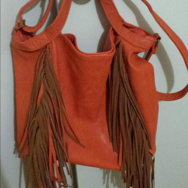 Orange Leather Large Bag