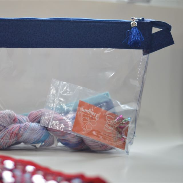 Project Bag, Clear Vinyl Zipper Pouch, cosmetic bag, zip pouch, project pouch, wedge pouch, School Supplies Bag