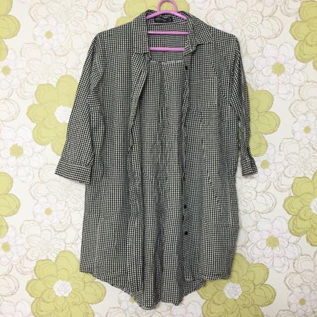 含運📦[QueenShop] 小格紋七分袖長版襯衫罩衫