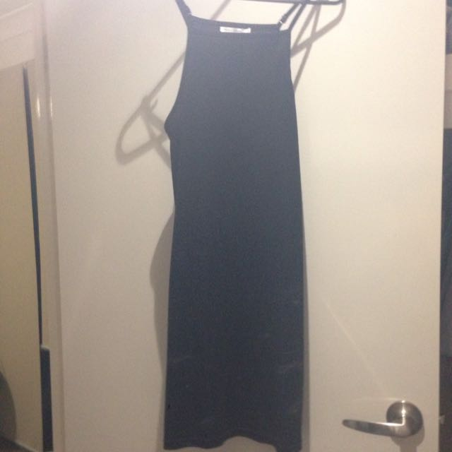 Ribbed Black Skater Dress