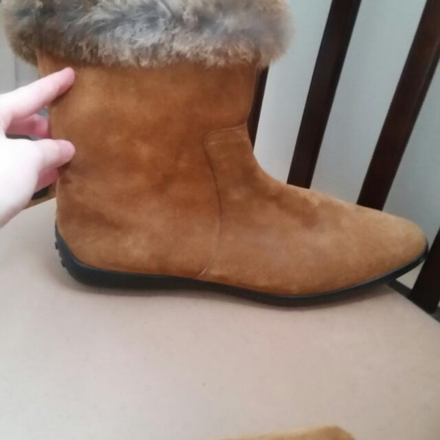Saks Fifth Avenue leather Boots With Rabbit Trim