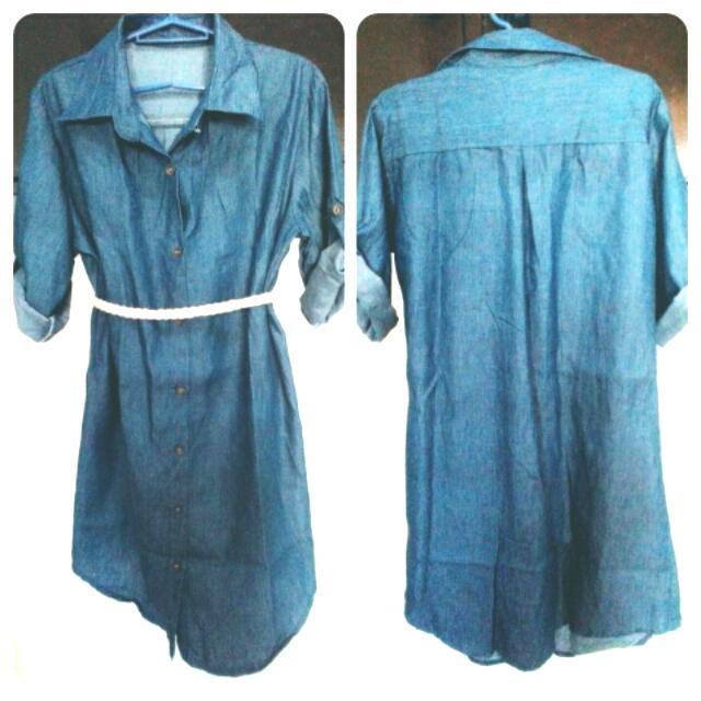 Soft Long Sleeve Denim Dress Without Belt