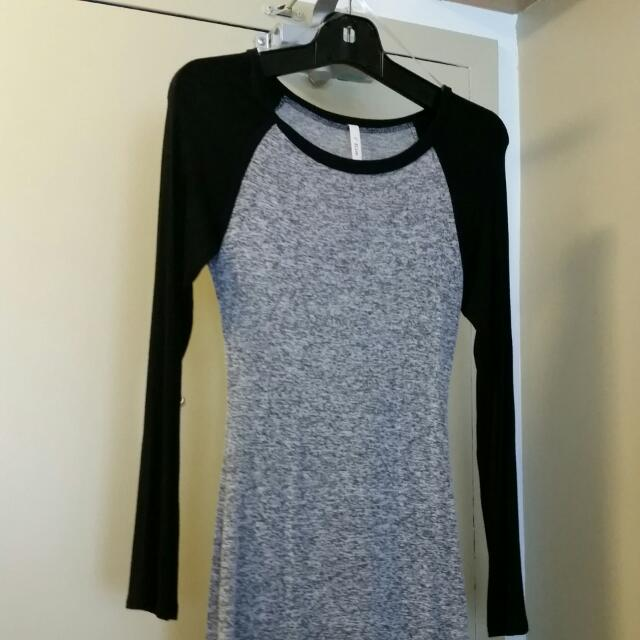 RESERVED Sz S Raglan Long Sleeved Bodycon Tshirt Dress