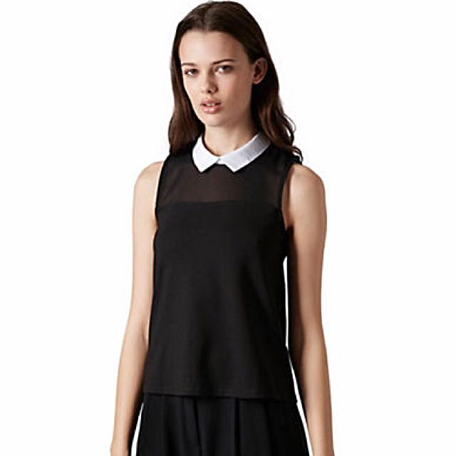 Topshop Contrast Collar Top