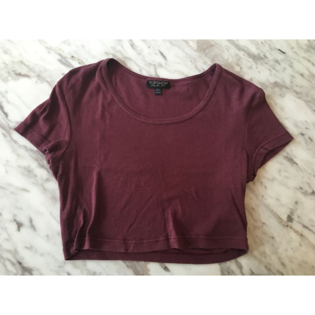 Topshop Crop Top Red Wine