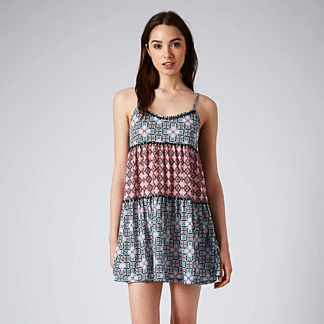 Topshop tile print pompom tunic in pink