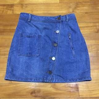 Osmose Denim Skirt With Slant Buttons And Zipper Detail