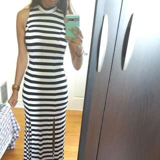 Bebe White & Black Striped Dress