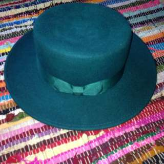 Green, Woollen, Flat, Summer, Lack Of Color Hat