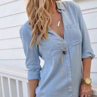 PENDING Brand New-Chambray Collared Top