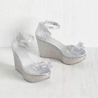 Brand New Glitter Bow Wedges Size 10