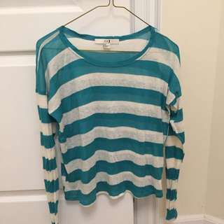 F21 Teal Stripped top
