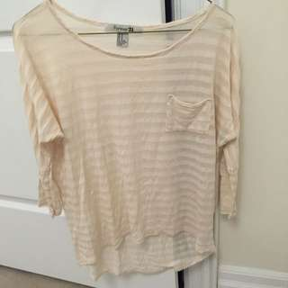 F21 Beige/Blush Stripped Top