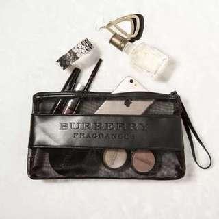 (已售出K)💋Burberry 專櫃贈品化妝包💋 黑色網紗半透明手拿包/化妝包/收納包/筆袋【BB0️⃣0️⃣1️⃣】