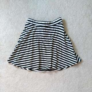 XS Dynamite Black And Cream Striped Skater Skirt