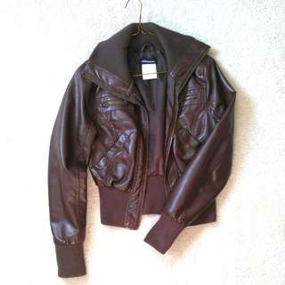 XS Faux Brown Leather Jacket