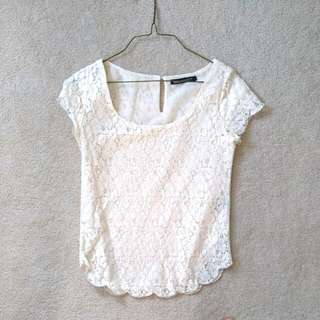 XS Creamy Lace Top