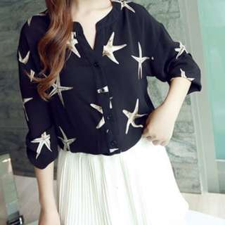 Button Up Starfish Blouse