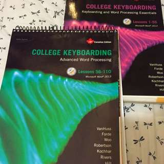 College Keyboarding Books Lesson 1-55 and 56-110