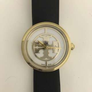 Tory Burch Reva Watch, Black Leather
