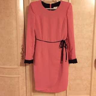 Long Sleeves Pink Dress