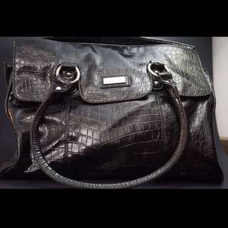 Large Black Faux Snake Skin Purse