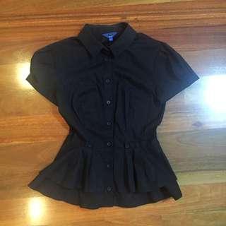 Cue - Black Peplum Shirt