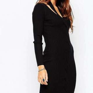 ASOS black Knit Dress Size 8