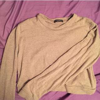 Brandy Melville Beige Crop Long Sleeve