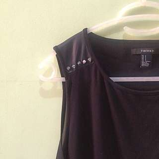 Forever 21 High-low Sheer Top w/ Studs