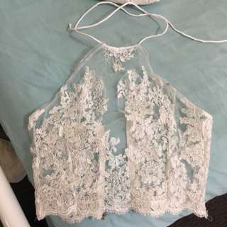White Lace Halter Top