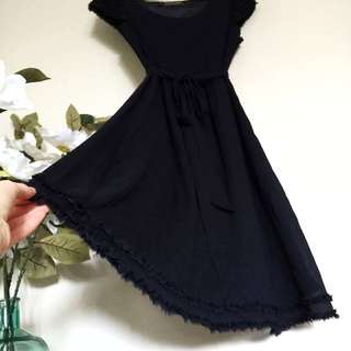 Basque Dark Blue Midi Dress