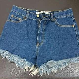 韓版抽鬚高腰牛仔短褲