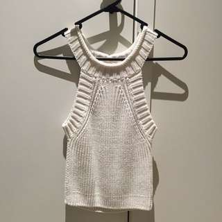 BARDOT OFF WHITE KNITTED CROP SIZE 8