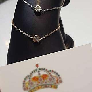 全新 18 K金 白 / 玫瑰金 全天然鑽石 水泡型手鍊