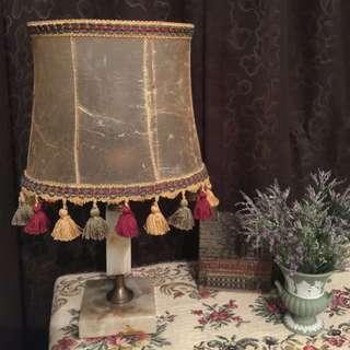 義大利古董橢圓羊皮燈罩石材柱底座檯燈桌燈