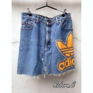 降!手工 Remake Adidas 牛仔裙