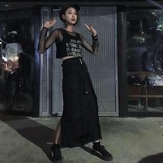 Slightly Numb Vultures Skirt 破壞纏繞腰帶長裙 黑色 全新