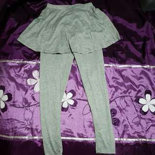 Korean Style Grey Skirt+Pants