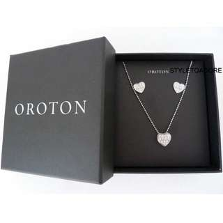 Oroton Pave Heart Earring and Necklace Set