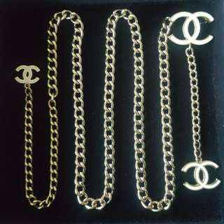 Authentic- Chanel 00V Chain Belt with White Enamel CC