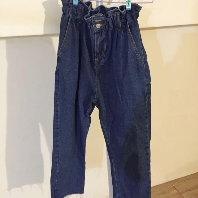 高腰牛仔彈性寬褲
