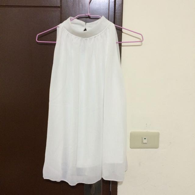 白色雪紡無袖韓版上衣